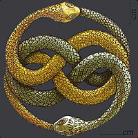 Bild på hopslingrade ormar i metall.