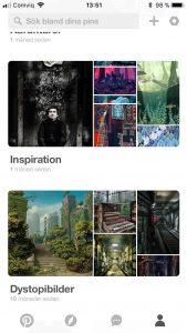 Pinterest, skärmdump